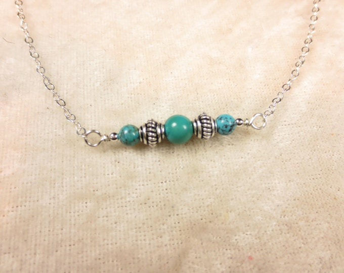 Turquoise Necklace - Bali Silver Necklace - 4 & 6 mm - Sterling Silver