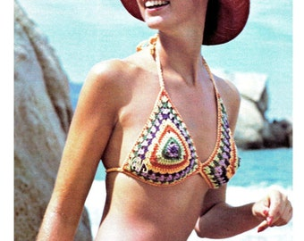 Vintage 70's Crocheted BIKINI - PDF Pattern - Retro 70's Bathing Suit - Instant Download