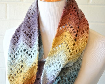 Crochet Chevron Infinity Scarf - Multicolor Turquoise, Red, Yellow