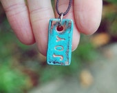 Custom engraved necklace with rustic pendant - one of a kind personalized jewelry