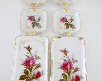 Rose Ashtrays and Trays, Red Rose Ashtrays, Porcelain Ashtrays