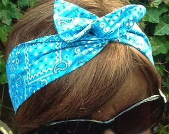 Wire Dolly Bow Turquoise fun Hankerchief Bandanna Print    Wired Dollybow Rockabilly Hair Scarf Headband