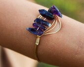Wire Wrapped Shark Tooth Amethyst Cuff, Amethyst bangle, stackable bangles, Wire Wrapped cuff, stacking bangles, gold cuff
