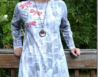 Hand Painted Tunic - long sleeved tunic - Plus size tunic  - Hawaii Shirt - Cotton Tunic - Maternity top - Hawaii Handmade - Petrina Blakely