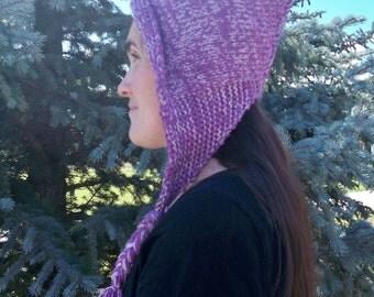 Pixie Hat Hood Glittery Peasblossom Bonnet Womens Pointed Shaped Renaissance Fuchia Ear Flap Braids