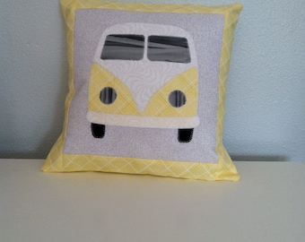 """VW Bus Inspired Yellow and Grey Accent Pillow Hippie Baby Nursery Cushion Includes 12""""x12"""" Pillow Insert"""