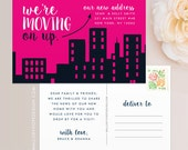 Moving On Up Moving Announcement Postcard / Magnet / Flat Card - Cityscape Moving Announcement, New Home Announcement, Change of Address