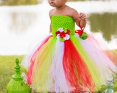 Lime Green, Red, and White Christmas Tutu Dress
