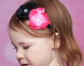 Black and Hot Pink Hydrangea Headband