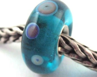 SRA artist handmade euro big hole lampwork glass bead with sterling silver core - Made To Order - T355