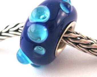 SRA artist handmade euro big hole - lampwork glass bead - lined with Sterling Silver - Made To Order - S367