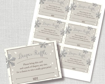BABY IT'S COLD outside diaper raffle, ticket, insert card, baby shower, hot chocolate, silver snowflakes, instant download, digital file