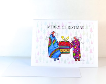 "Greeting Card ""Merry Christmas"" / Christmas Card Holiday Gift / Spiritual Religious / Print at Home Artwork"