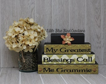 My Greatest Blessings Call Me Grammie handcrafted wooden block set grandparents gift home decor christmas gift