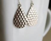 Modern earrings, teardrop textured silver dangle earrings