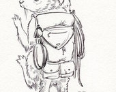 Squirrel Hiker- Coloring Page Printable, JPEG Instant Download
