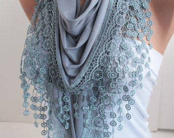 Gray Scarf  Triangle Shawl Scarf Cowl with Lace Scarf Fashion Woman Accessories Christmas Gift for her DIDUCI