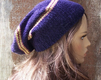 Purple chenille beanie recycled sweater hat striped beanie slouchy beanie handmade upcycled eco clothing accessories unisex adult men women