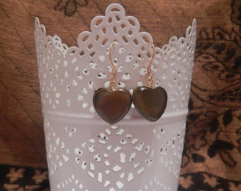 Tiger Eye Heart Earrings in Gold