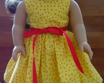 "18"" Doll Dress - Yellow with Red  Orange Polka Dots Print Handmade Sleeveless Dress fitting 18"" Dolls - Doll Clothes"