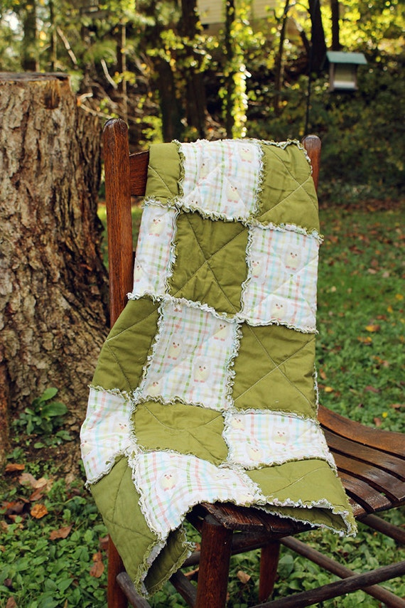 Rag Quilt Owl Pattern : Items similar to Hoot Owl Rag Quilt-gender neutral-FREE Shipping on Etsy