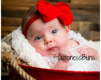 Red Headband, Baby Headband, newborn headband, Baby Hairbow, Valentine Bow, baby girl Headband, Red Hair Accessory, red Bow Headband, baby
