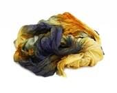 blue silk scarf - Van Gogh -  yellow, orange, blue silk scarf.