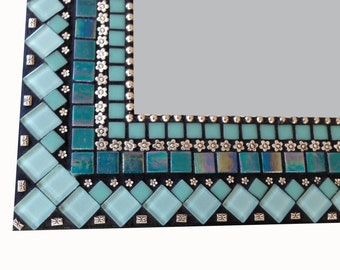 Mixed Media Mosaic Mirror in Turquoise and Silver, Large Mirror, Decorative Mirror, Bathroom Mirror, Wall Mirror, Teal Mirror