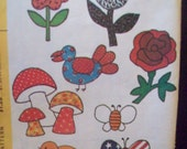 Vintage Transfers Two Sizes McCalls 4355 Flower Mushroom Chick Bee Butterfly