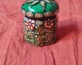 Mini Green Millefiori Pocket Jar