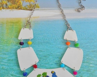 parrothead jimmy buffett margaritaville tropical beach  charm statement necklace
