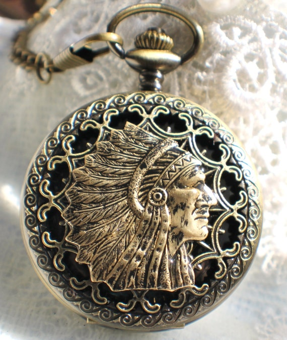 american indian themed pocket in bronze with bronze