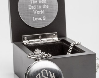Boxed Mens Pocket Watch Engraved with Wood Personalized Box Christmas Gift Dad or Groomsmen Gift