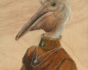 Lady Pink Pelican ORIGINAL painting