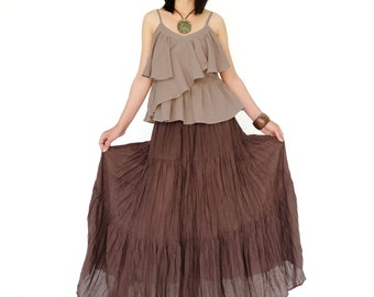 NO.5 Brown Cotton Gauze, Hippie Gypsy Boho Tiered Long Peasant Skirt