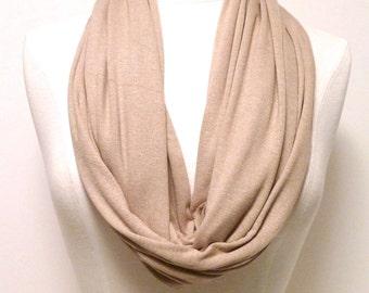 TAN Infinity Scarf - Light Beige Eternity Scarf - Circle Scarf - Jersey Knit Loop Scarf - Handmade