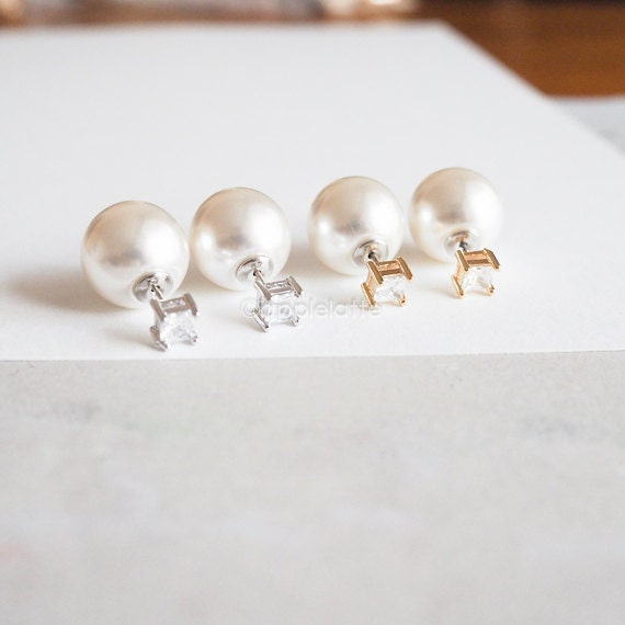front and back studs pearl earrings pearl by applelatte