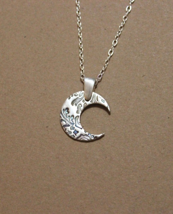 handmade sterling silver moon necklace moon jewelry by