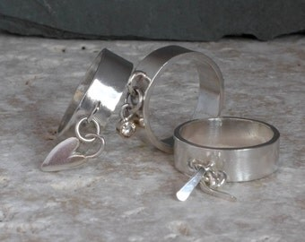 Dangle charm rings or for thumb sterling silver with gold set moissanite or quirky heart or jingles, custom Handmade in UK Fiona Lewis