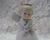 Holly Babes Porcelain Bell Enesco Imports Angel Bell Holly Trim 1980's Christmas Decor Hand Painted