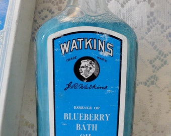 Watkins Blueberry Bath Oil 1960's Reproduction of 1900's Product  Apothecary Bottle Original Box