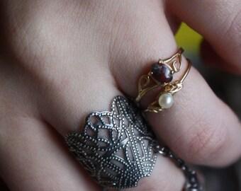 Vintage 14k Gold Brecciated Jasper Stone Ring Gemstone / Gift / Gem / Red / Victorian  / Edwardian style