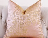 Gold Brocade Pillow Cover -Designer Blush Pink and Gold Pillow Cover - Pink Rose Pillow - Lace Embroidered Pillow Cover - Rose Gold