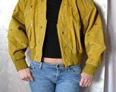 FREE SHIPPING LEATHER Mustard Jacket Leather Vtg Jacket in Mustard Vintage Studded Jacket Size L Large Short Leather Jacket In Mustard Color