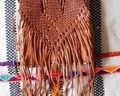 Leather Moroccan Fringe Bag/Tan