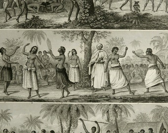 1860 Antique print of ANCIENT POLYNESIAN HABITS. Dances. Polynesia. Oceania. 156 years old fashion engraving