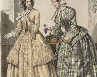 1851 Antique FASHION lithograph: Two Ladies in autumn clothes. Ancient clothes. Jane Eyre era. 167 years old gorgeous lithograph