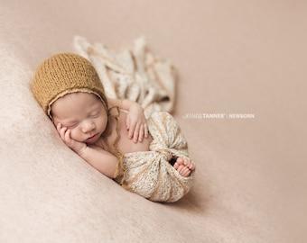 Striped Newborn Wrap, Newborn Sweater Knit Wrap, Newborn Photo Prop, Knit Baby Wrap, Rustic Newborn Wrap, RTS