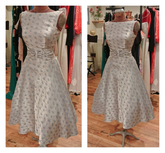 1950s silver novelty dog print party dress satin flare skirt for 1950s wedding guest dresses