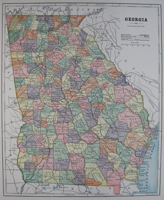 Antique Map Of GEORGIA Map 1893 Vintage Collectible Map